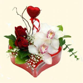Kastamonu hediye sevgilime hediye çiçek  1 kandil orkide 5 adet kirmizi gül mika kalp