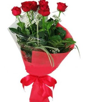 5 adet kırmızı gülden buket  Kastamonu kaliteli taze ve ucuz çiçekler