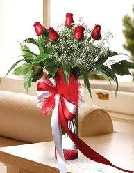 Camda 5 kırmızı gül tanzimi  Kastamonu çiçekçi telefonları