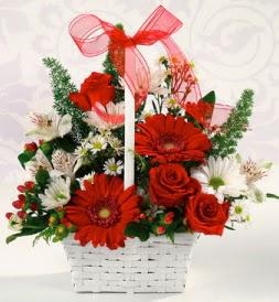 Karışık rengarenk mevsim çiçek sepeti  Kastamonu internetten çiçek siparişi