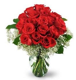 25 adet kırmızı gül cam vazoda  Kastamonu çiçek , çiçekçi , çiçekçilik