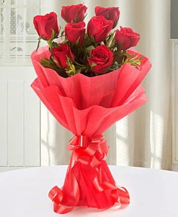 9 adet kırmızı gülden modern buket  Kastamonu İnternetten çiçek siparişi