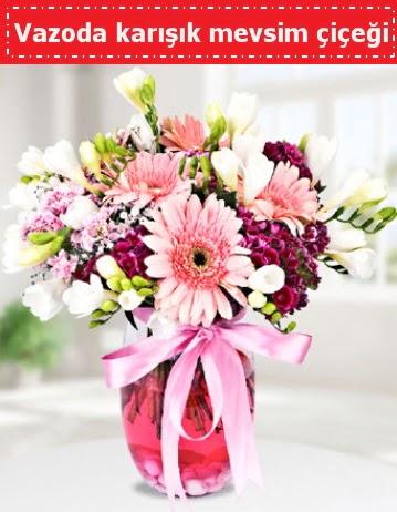 Vazoda karışık mevsim çiçeği  Kastamonu çiçek , çiçekçi , çiçekçilik