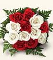 Kastamonu çiçek , çiçekçi , çiçekçilik  10 adet kirmizi beyaz güller - anneler günü için ideal seçimdir -