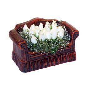 seramik içerisinde 11 gül  Kastamonu hediye çiçek yolla