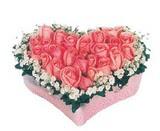 kalp içerisinde 9 adet pembe gül  Kastamonu çiçek satışı
