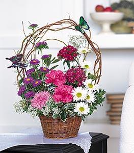 Kastamonu cicekciler , cicek siparisi  sepet içerisinde karanfil gerbera ve kir çiçekleri
