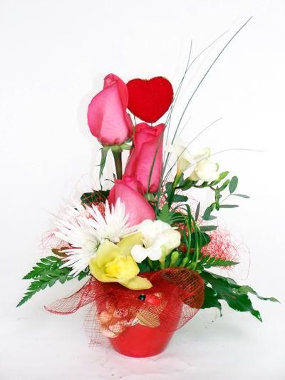 Kastamonu ucuz çiçek gönder  cam içerisinde 3 adet gül ve kir çiçekleri