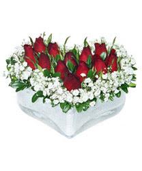 Kastamonu internetten çiçek siparişi  mika kalp içerisinde 9 adet kirmizi gül