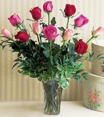 Kastamonu çiçek mağazası , çiçekçi adresleri  12 adet karisik renkte gül cam yada mika vazoda
