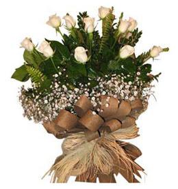 Kastamonu çiçekçi telefonları  9 adet beyaz gül buketi