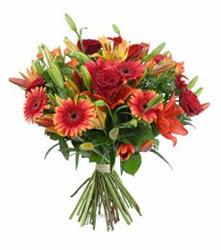 Kastamonu çiçek gönderme  3 adet kirmizi gül ve karisik kir çiçekleri demeti