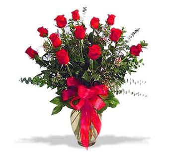 çiçek siparisi 11 adet kirmizi gül cam vazo  Kastamonu online çiçek gönderme sipariş