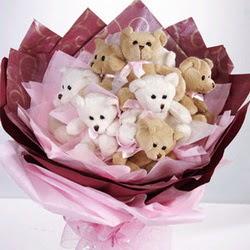 9 adet ayiciktan buket  Kastamonu internetten çiçek siparişi