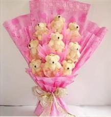 9 adet pelus ayicik buketi  Kastamonu anneler günü çiçek yolla