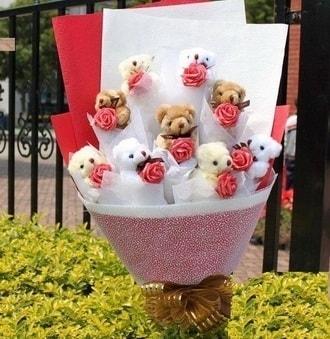 Kastamonu çiçek siparişi vermek  9 adet ayicik ve 9 adet yapay gül