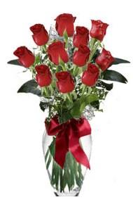 11 adet kirmizi gül vazo mika vazo içinde  Kastamonu 14 şubat sevgililer günü çiçek