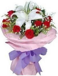 9 adet kirmizi gül 1 adet kazablanka buketi  Kastamonu çiçekçi mağazası