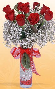 9 adet kirmizi gül cam yada mika vazoda  Kastamonu çiçek mağazası , çiçekçi adresleri