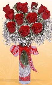 10 adet kirmizi gülden vazo tanzimi  Kastamonu çiçek siparişi sitesi