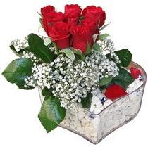 Kastamonu güvenli kaliteli hızlı çiçek  kalp mika içerisinde 7 adet kirmizi gül