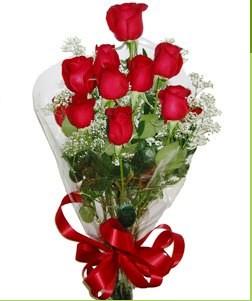 Kastamonu uluslararası çiçek gönderme  10 adet kırmızı gülden görsel buket