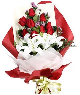Kastamonu çiçekçiler  1 dal kazablankaa 9 adet kırmızı gül buketi