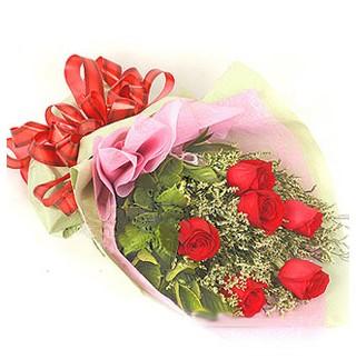 Kastamonu çiçek , çiçekçi , çiçekçilik  6 adet kırmızı gülden buket