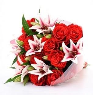 Kastamonu çiçek siparişi vermek  3 dal kazablanka ve 11 adet kırmızı gül