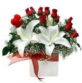 Kastamonu çiçekçi mağazası  1 dal kazablanka 11 adet kırmızı gül vazosu