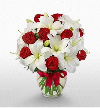 Kastamonu hediye çiçek yolla  1 dal kazablanka 11 adet kırmızı gül vazosu