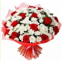 11 adet kırmızı gül ve beyaz kır çiçeği  Kastamonu internetten çiçek satışı
