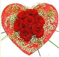 Mika kalp içerisinde 7 adet kırmızı gül  Kastamonu çiçekçi mağazası