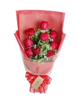 9 adet kırmızı gülden görsel buket  Kastamonu ucuz çiçek gönder