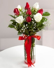 5 kırmızı 4 beyaz gül vazoda  Kastamonu cicekciler , cicek siparisi
