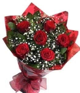 6 adet kırmızı gülden buket  Kastamonu yurtiçi ve yurtdışı çiçek siparişi