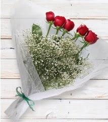 5 kırmızı gülden sade buket  Kastamonu çiçek yolla