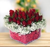 15 kırmızı gülden kalp mika çiçeği  Kastamonu çiçek satışı