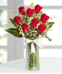 7 Adet vazoda kırmızı gül sevgiliye özel  Kastamonu çiçek siparişi sitesi