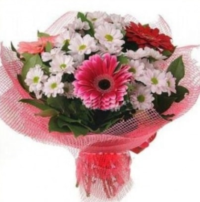 Gerbera ve kır çiçekleri buketi  Kastamonu internetten çiçek siparişi