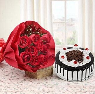 12 adet kırmızı gül 4 kişilik yaş pasta  Kastamonu çiçek , çiçekçi , çiçekçilik