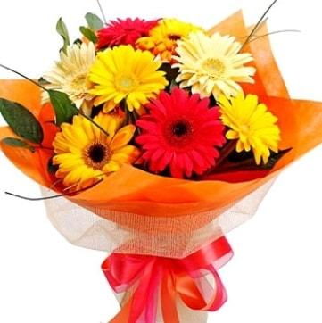 9 adet karışık gerbera buketi  Kastamonu çiçek , çiçekçi , çiçekçilik