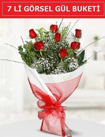 7 adet kırmızı gül buketi Aşk budur  Kastamonu çiçek satışı