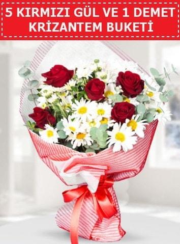 5 adet kırmızı gül ve krizantem buketi  Kastamonu çiçek satışı
