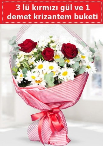 3 adet kırmızı gül ve krizantem buketi  Kastamonu çiçek gönderme sitemiz güvenlidir