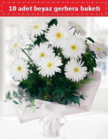 10 Adet beyaz gerbera buketi  Kastamonu çiçek , çiçekçi , çiçekçilik