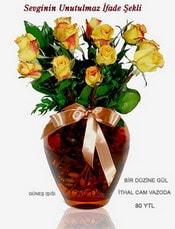 Kastamonu internetten çiçek satışı  mika yada Cam vazoda 12 adet sari gül